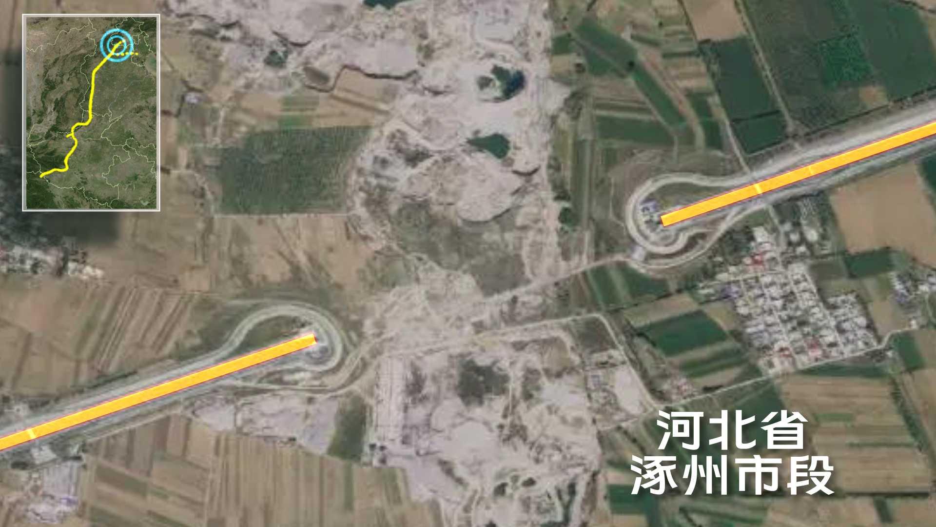 南水北調中線工程河南、河北段。衛星資料來源:高分二號